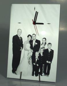 Gravírovaná fotografia s hodinami - zrkadlo