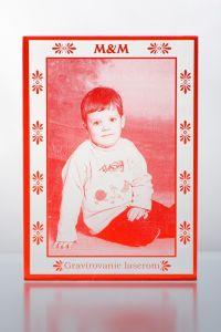 Gravírovaná fotografia  - červené sklo