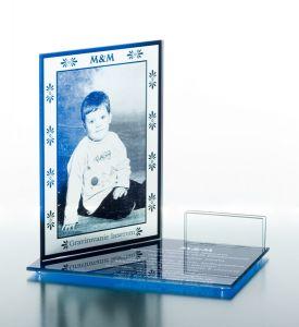 Gravírovaná fotografia  - modré sklo